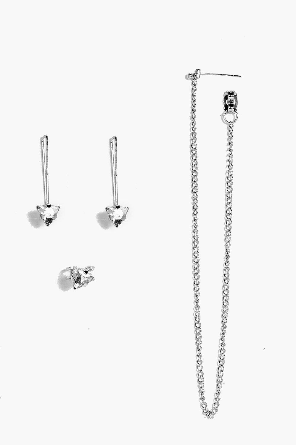Maisie Chain and Stud Mixed Earring Set