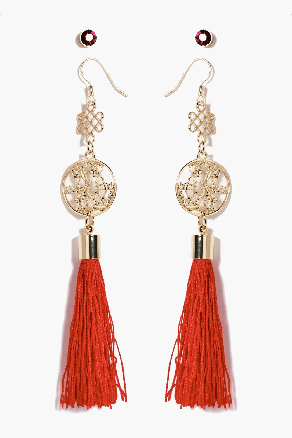Freya Red Tassel Statement Earrings