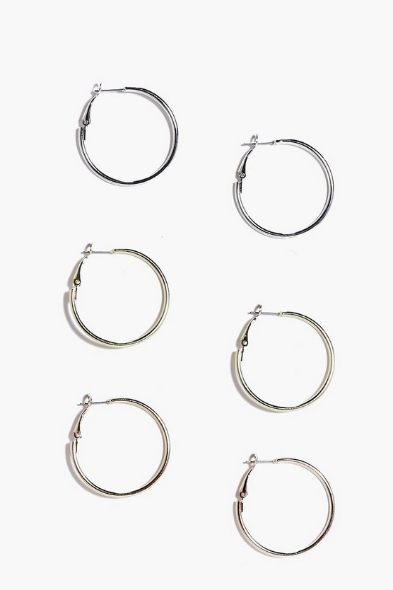 Hollie Mixed Metal Hoop Earring 3 Pack