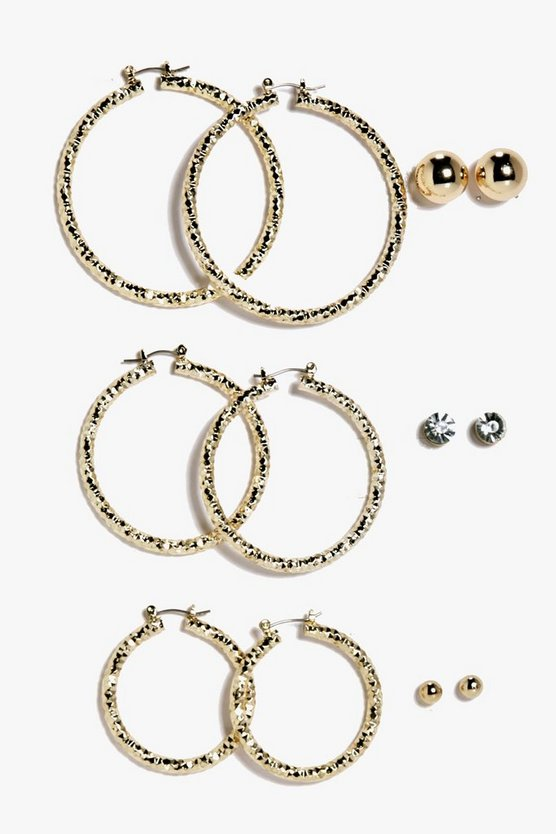 Anna Mixed Size Hoop and Stud Earring 6 Pack