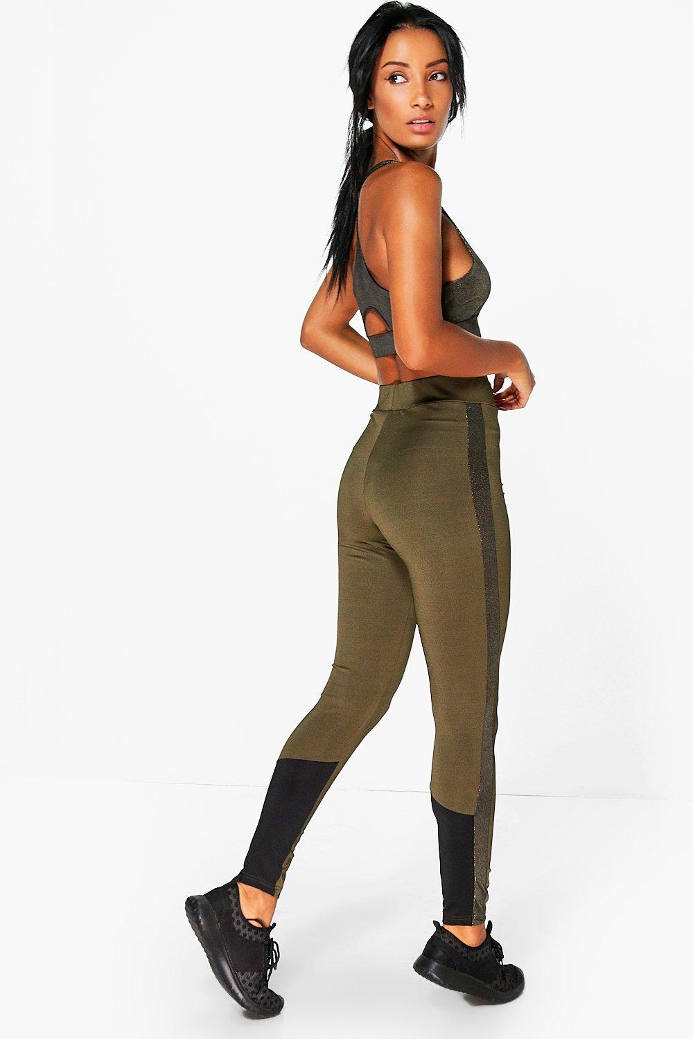 Lucy FIT Metalic Panel Running Leggings khaki