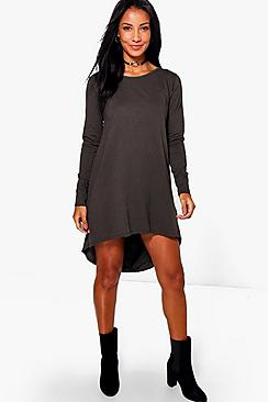 Bonnie Dip Hem Cotton Shift Dress