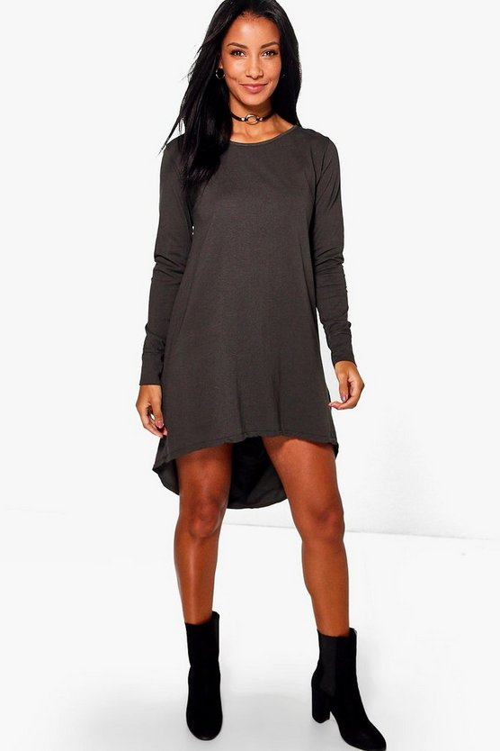 Bonnie Dip Hem Cotton Shift Dress