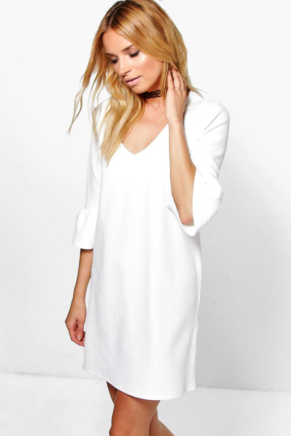Cheska Plunge Ruffle Sleeve Shift Dress
