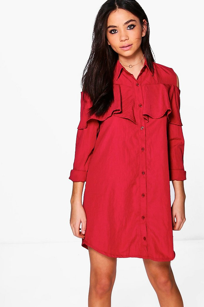 Ailbhe Ruffle Long Sleeve Shirt Dress