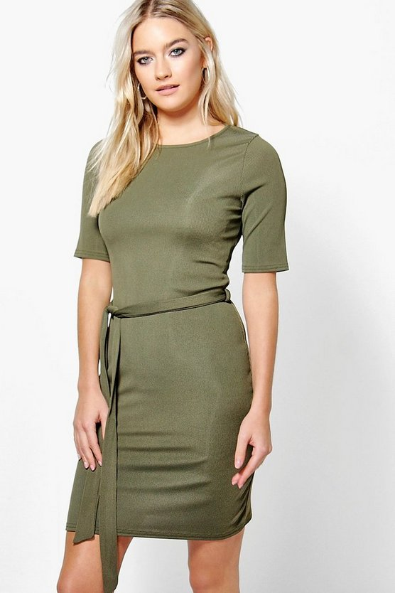 Elvira Ribbed Tie Waist Midi Dress