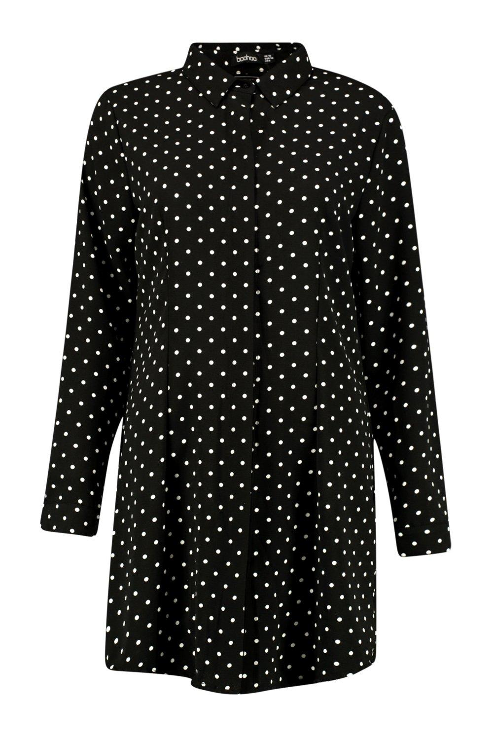 Barley Polka Dot Shirt Dress at boohoo.com