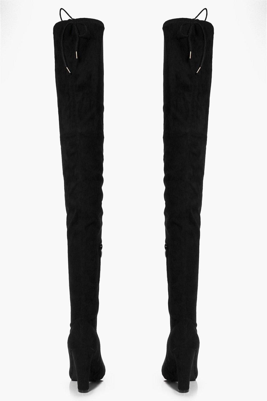 Vanessa Block Heel Thigh High Boot | Boohoo