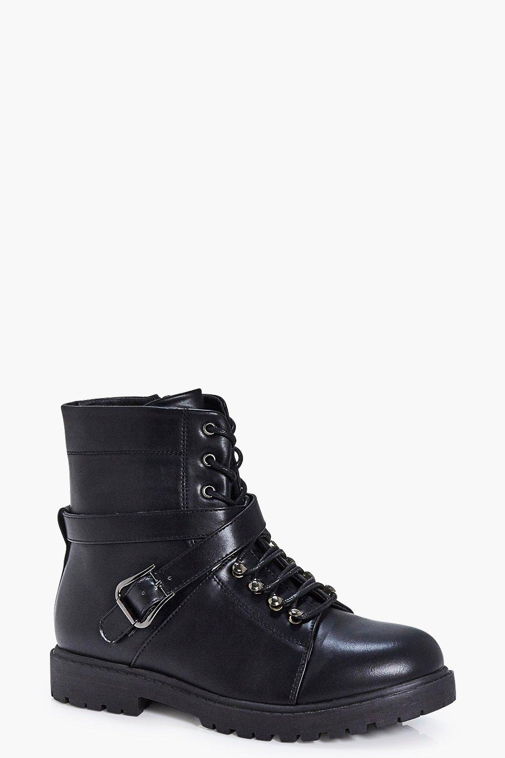 Laura Lace Up Chunky Buckle Detail Hiker