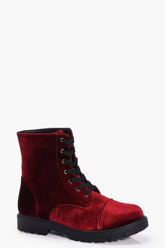 Emma Velvet Lace Up Hiker