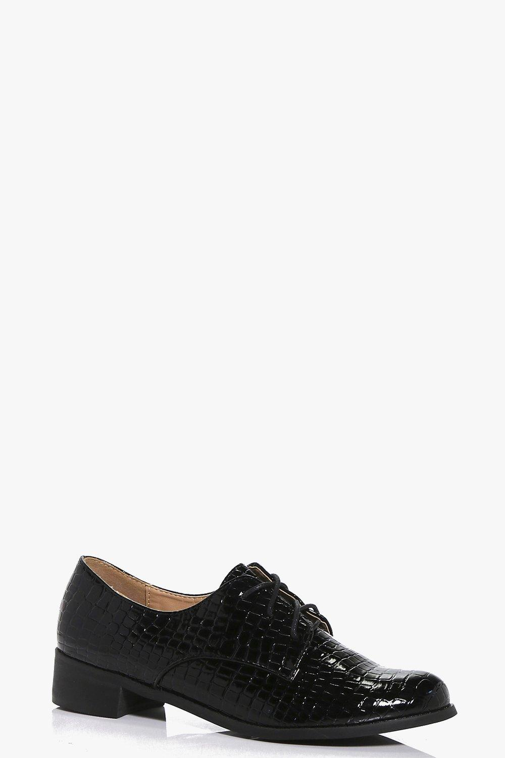 Maisy Croc Effect Lace Up Brogue
