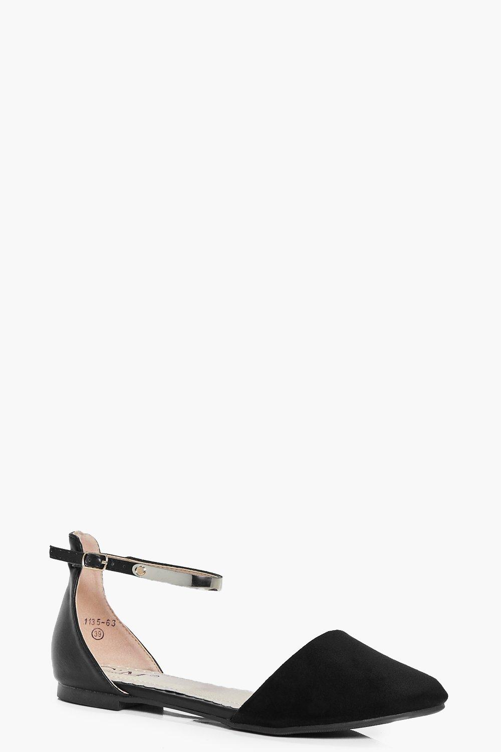 Evelyn Pointed Metal Trim Ankle Band Ballet