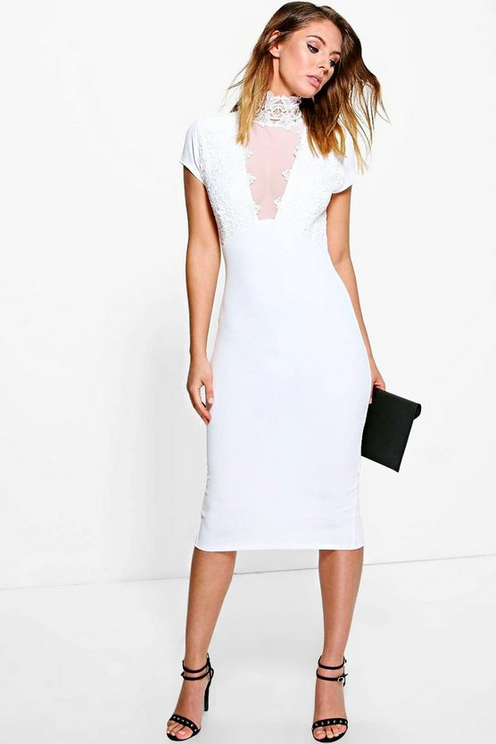 Luisa Lace Panelled Mesh Insert Midi Dress