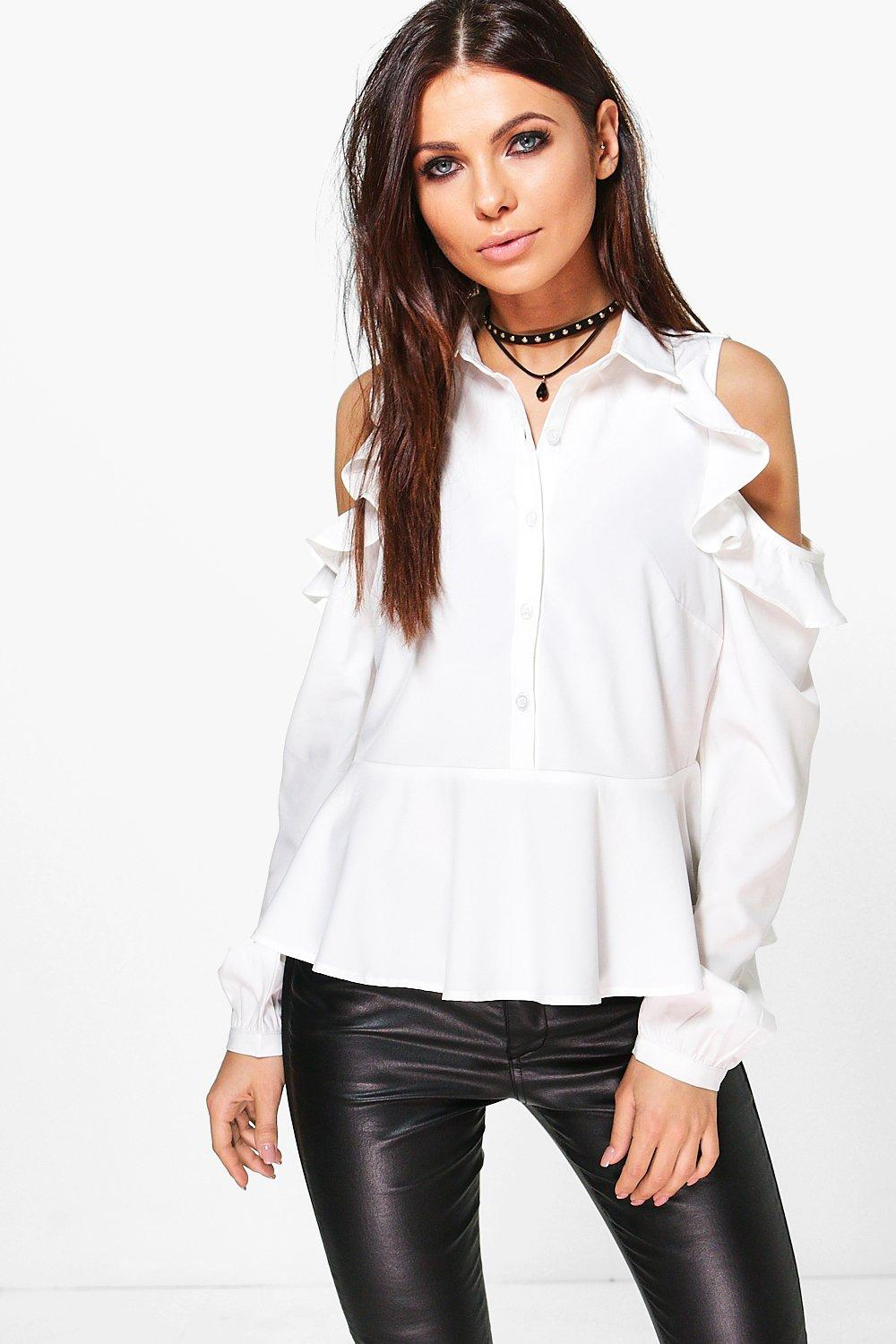 Esme Ruffle Sleeve Cold Shoulder Shirt