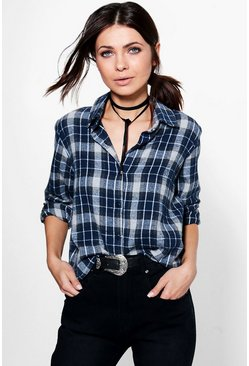 Paisley Checked Cropped Shirt