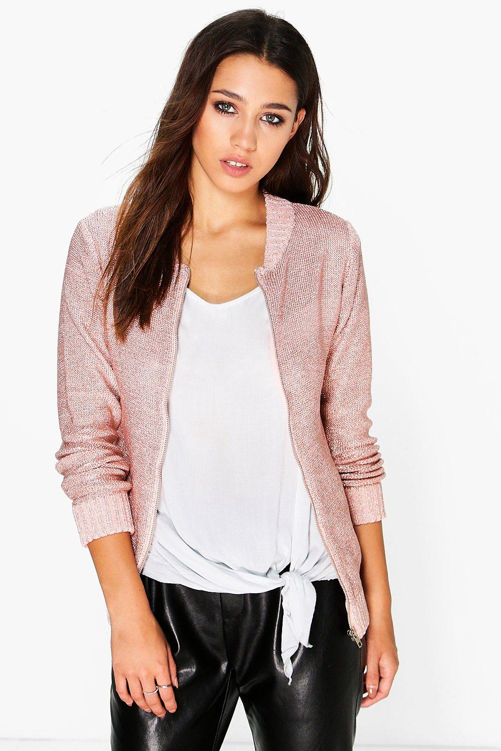 Boutique Lucy Metallic Knit Bomber Jacket
