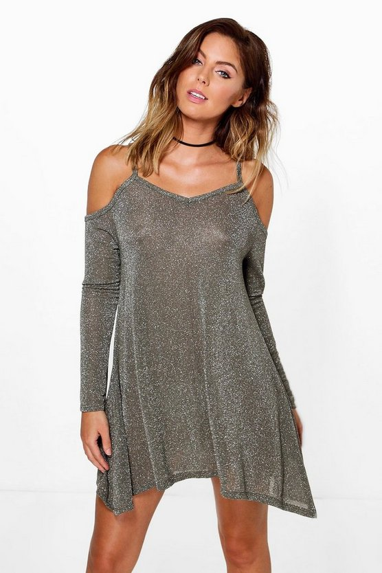 Natasha Cold Shoulder Metallic Knit Swing Dress