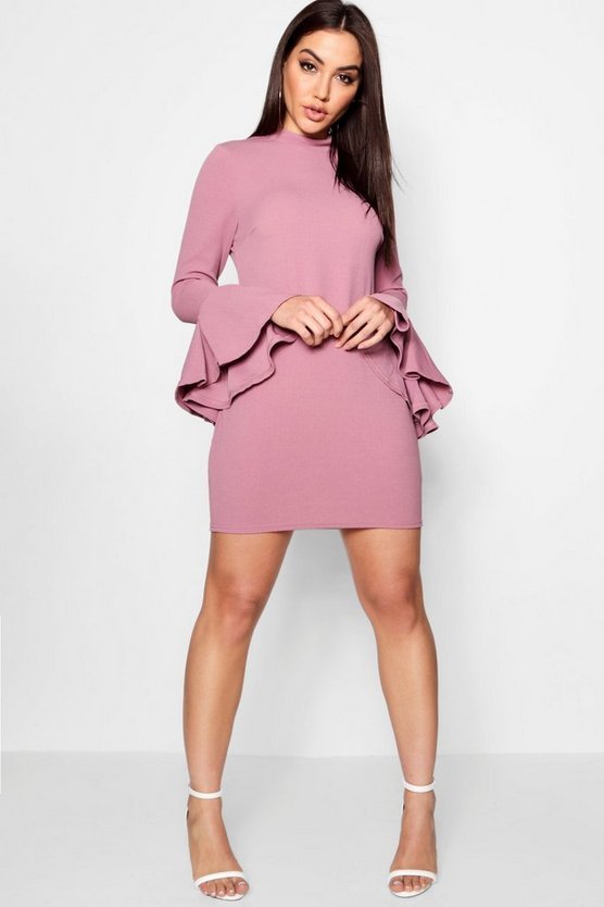 Flute Sleeved Shift Dress