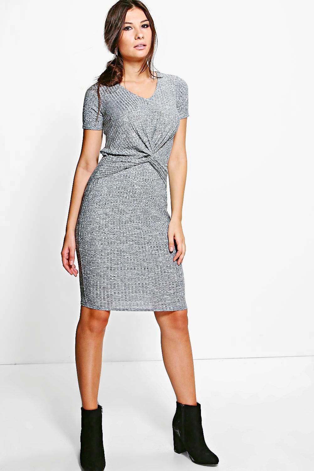 Mireille Knot Front Knitted Midi Dress