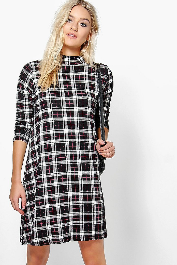Natasha Turtle Neck Checked Swing Dress