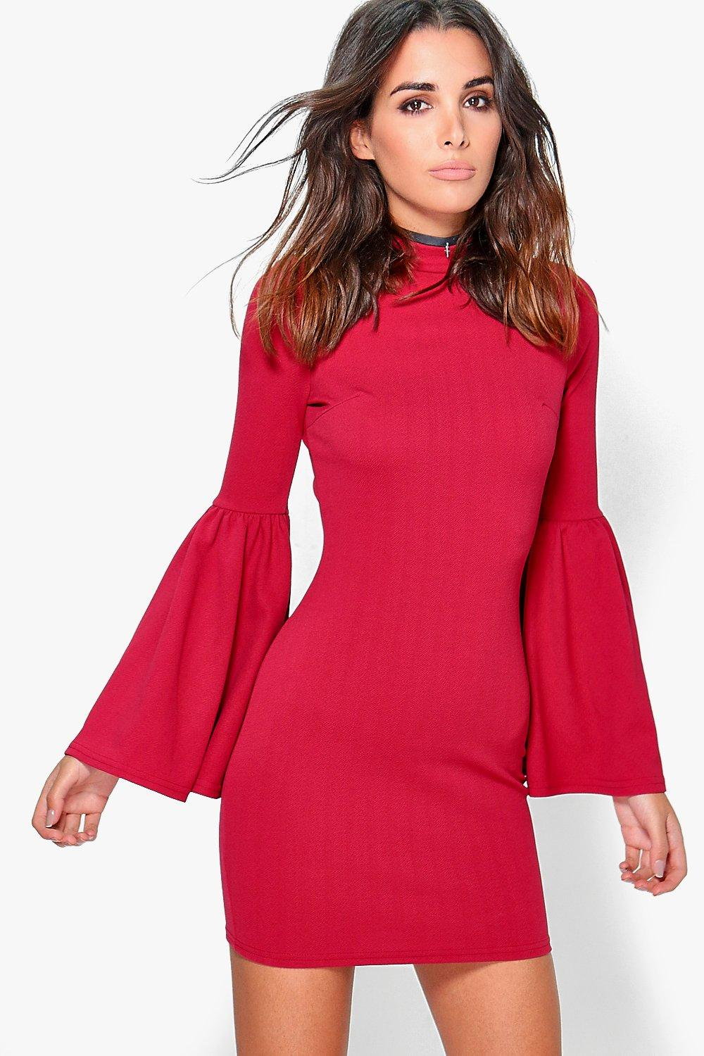 Olga High Neck Flute Sleeved Bodycon Dress