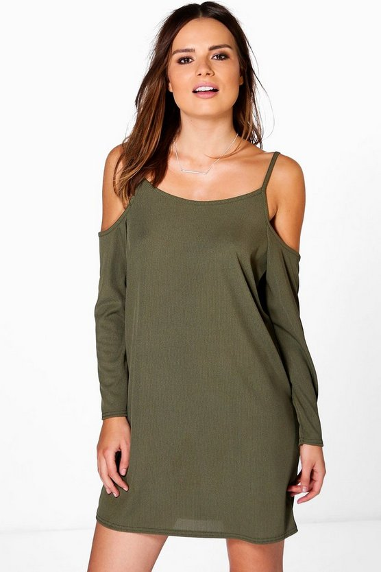 Daphne Ribbed Cold Shoulder Shift Dress