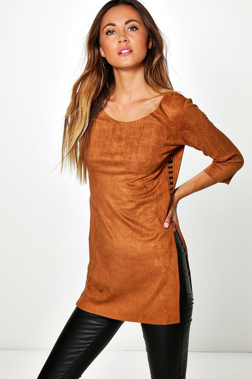 Eliana Split Side Eyelet Suedette Top