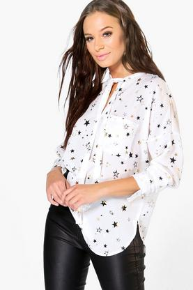 Alaina Star Metallic Neck Tie Shirt