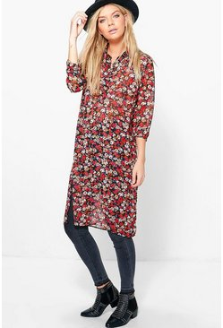 Alice Floral Longline 1/2 Placket Shirt