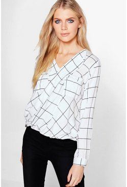 Adeline Oversized Checked Wrap Blouse