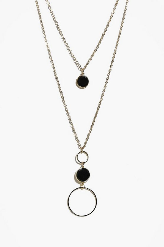 Ebony Circle Pendant Layered Necklace