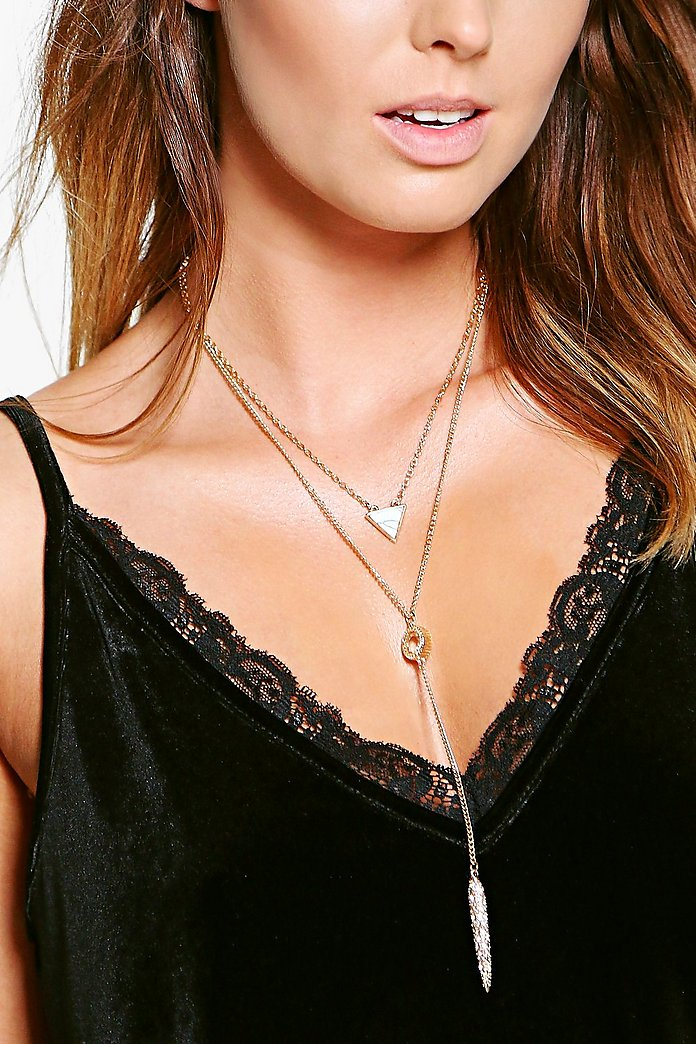 Faye Heart Pendant Layered Plunge Necklace