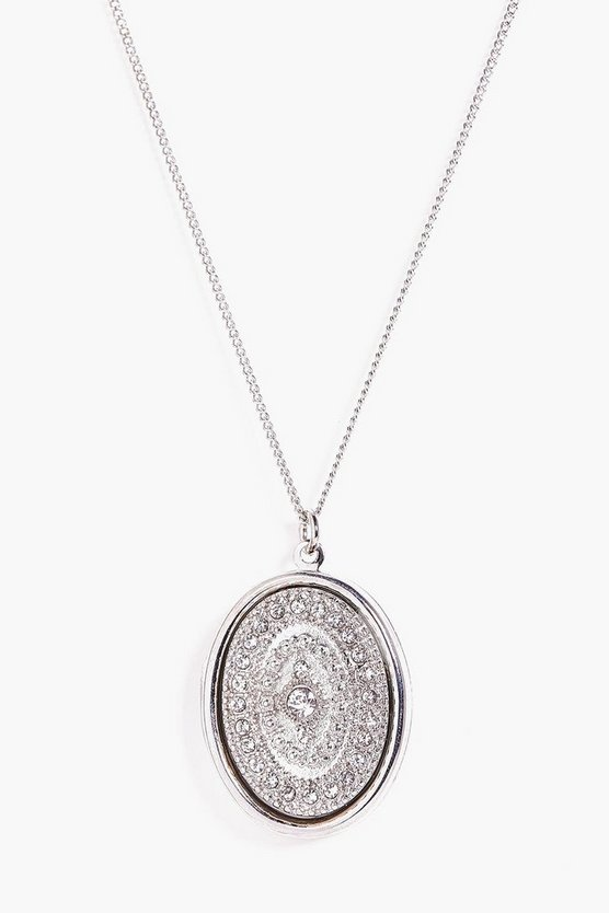 Mae Diamante Round Detail Charm Necklace