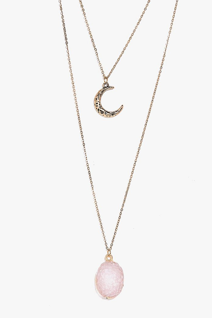 Kitty Moon and Crystal Layered Necklace