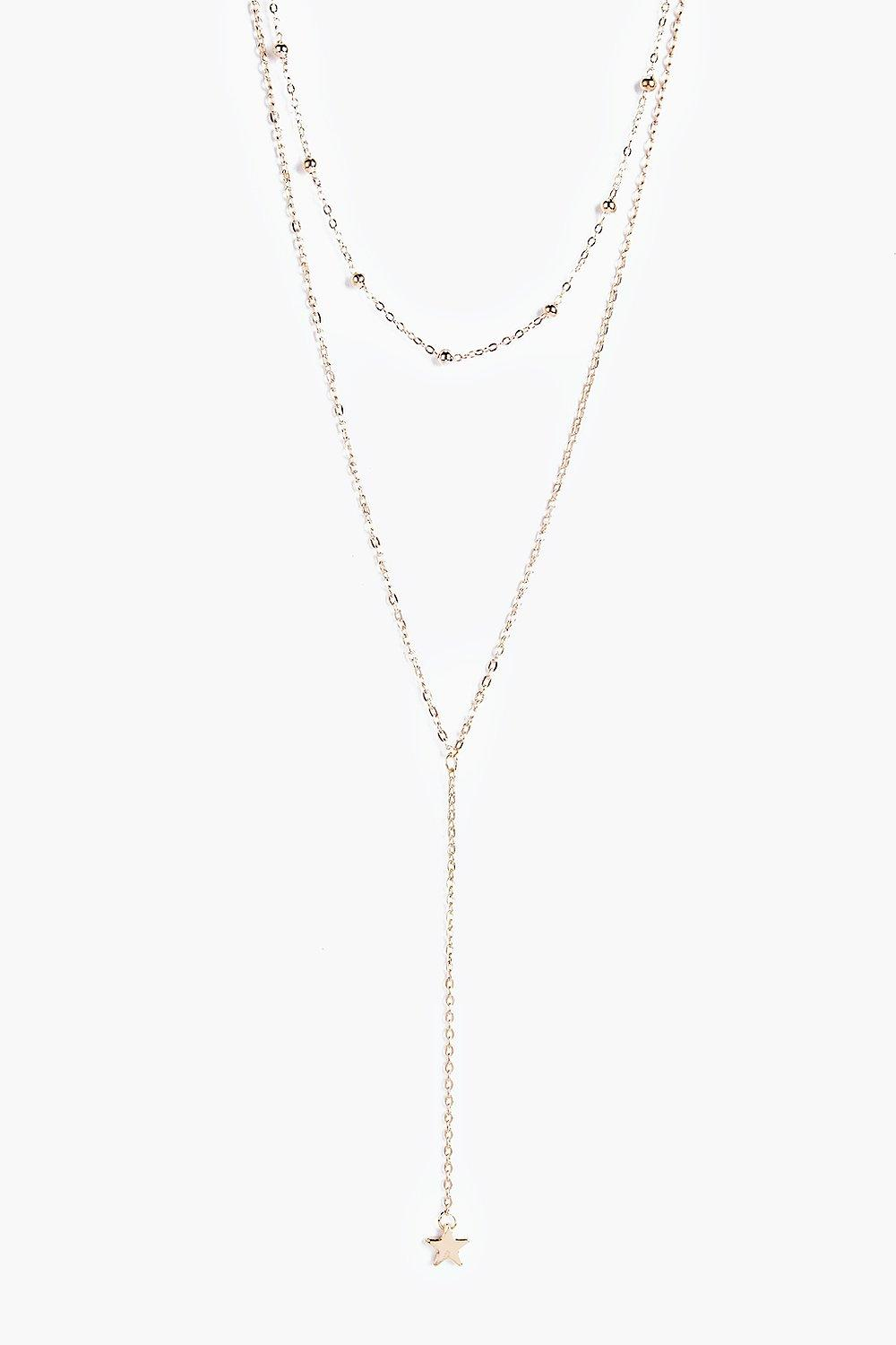 Plunge Layered Necklace - gold