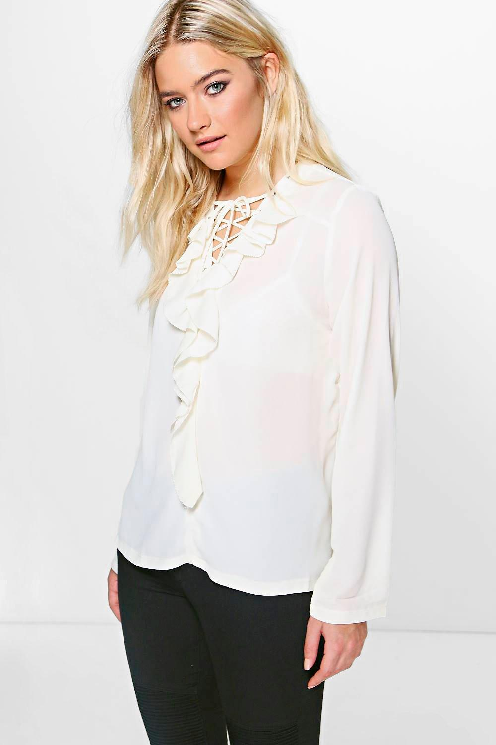 Harper Lace Up Ruffle Shirt