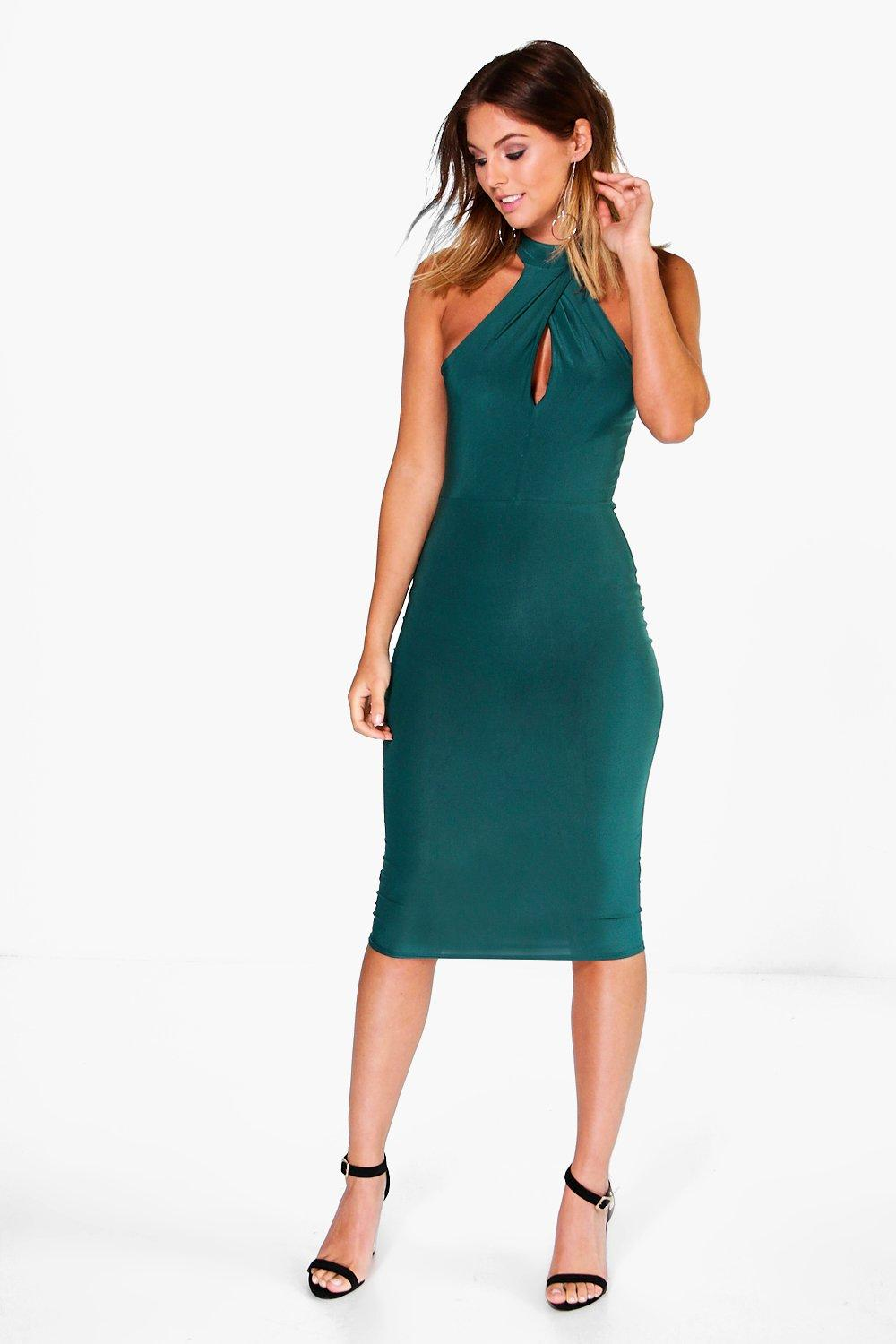 Jo Slinky High Neck Ruched Detail Midi Dress