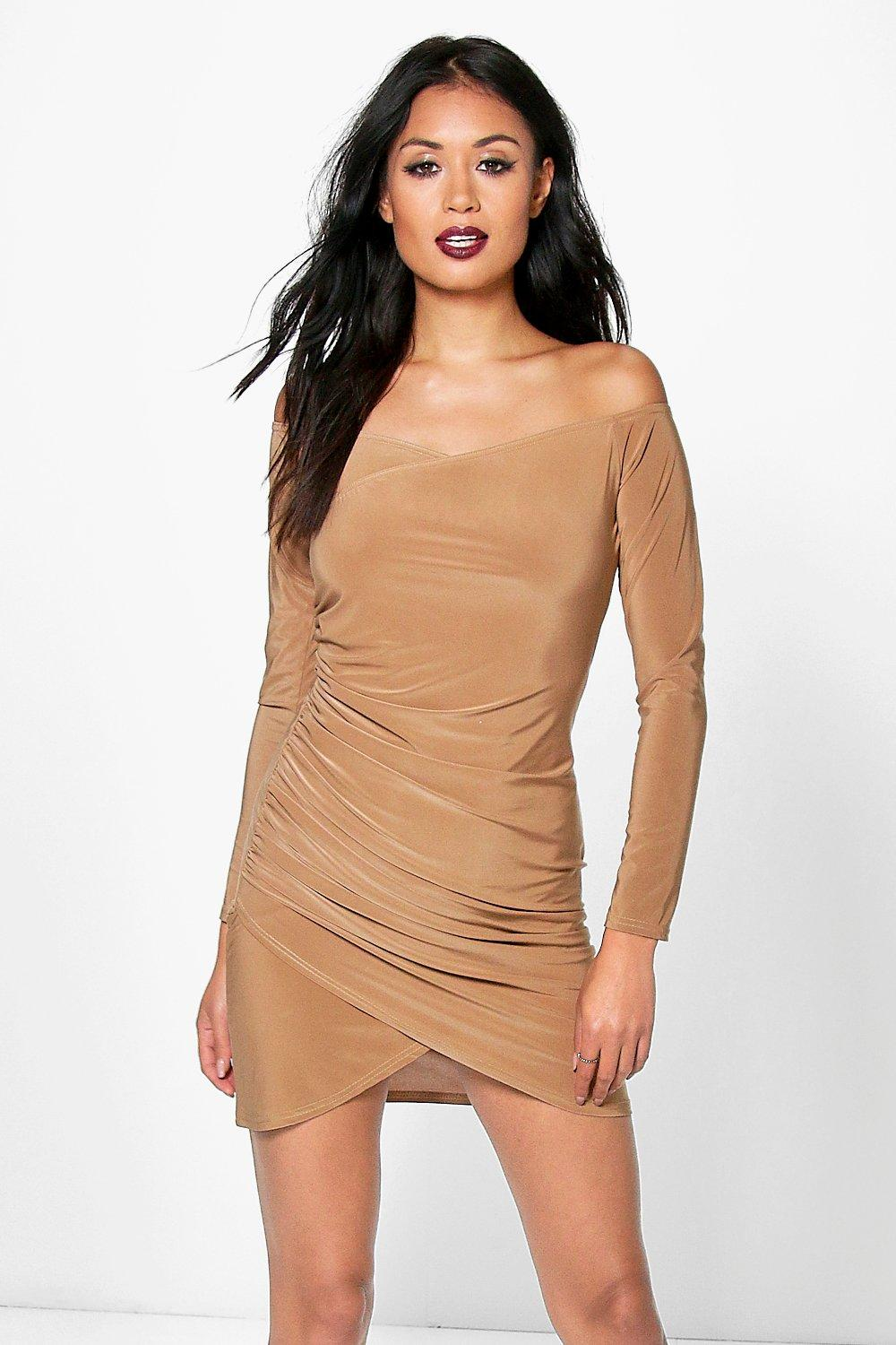 Zhi Slinky Wrap Off Shoulder Bodycon Dress