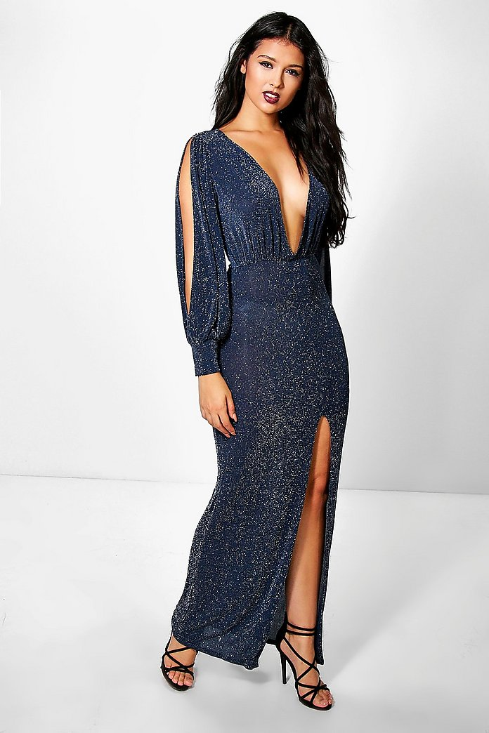 Lorel Metallic Split Sleeve Plunge Maxi Dress