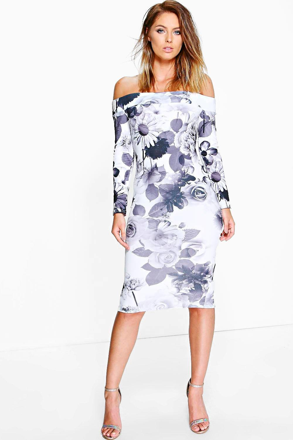Evianna Floral Off Shoulder Midi Dress