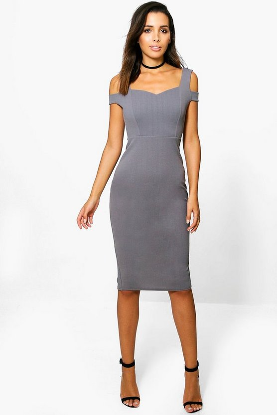 Camilla Bardot Strap Cut Out Midi Dress