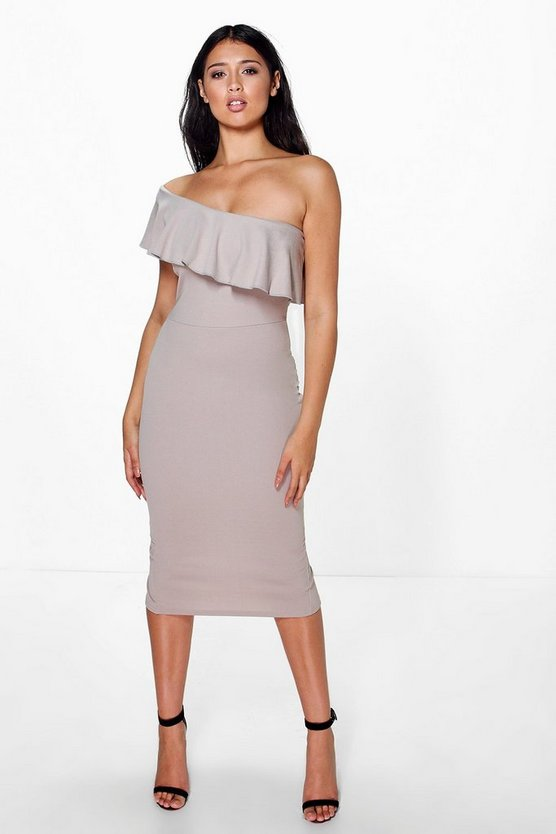 Silva Frill One Shoulder Midi Dress