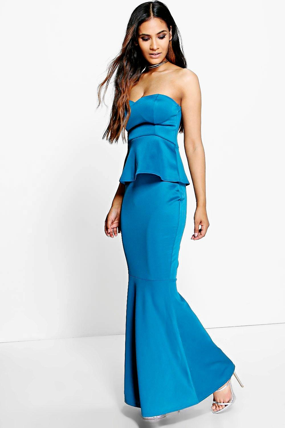 Gilia Sweetheart Peplum Fishtail Maxi Dress