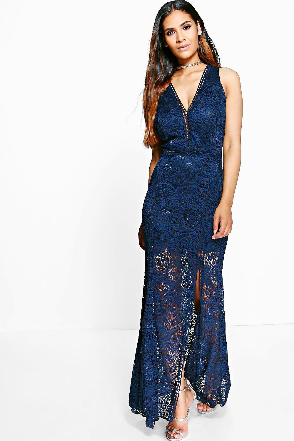 Boutique Isla Lace V-Neck Maxi Dress