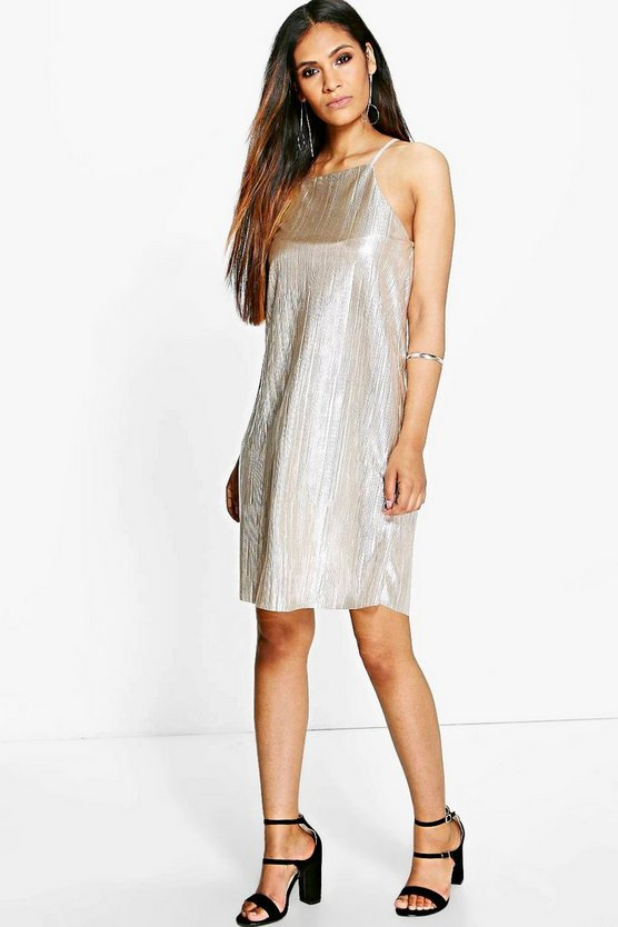 Cole Pleated Metallic Cross Back Slip Dress