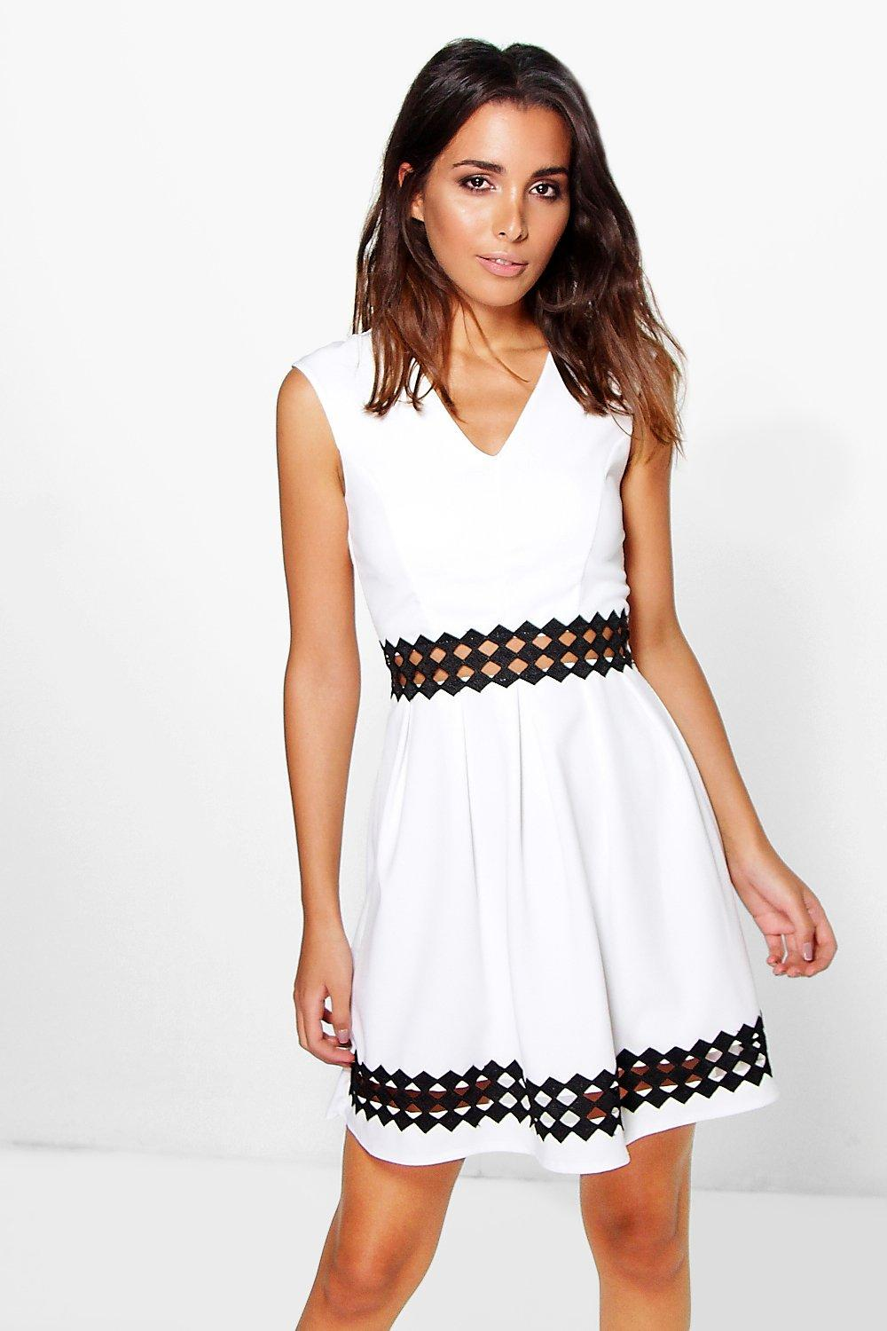 Bethany Crochet Insert Skater Dress