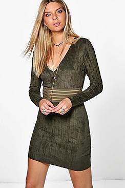 Laura Mesh Inset Suedette Bodycon Dress