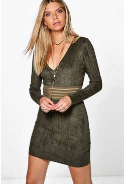 Laura Mesh Inset Suedette Bodycon Dress