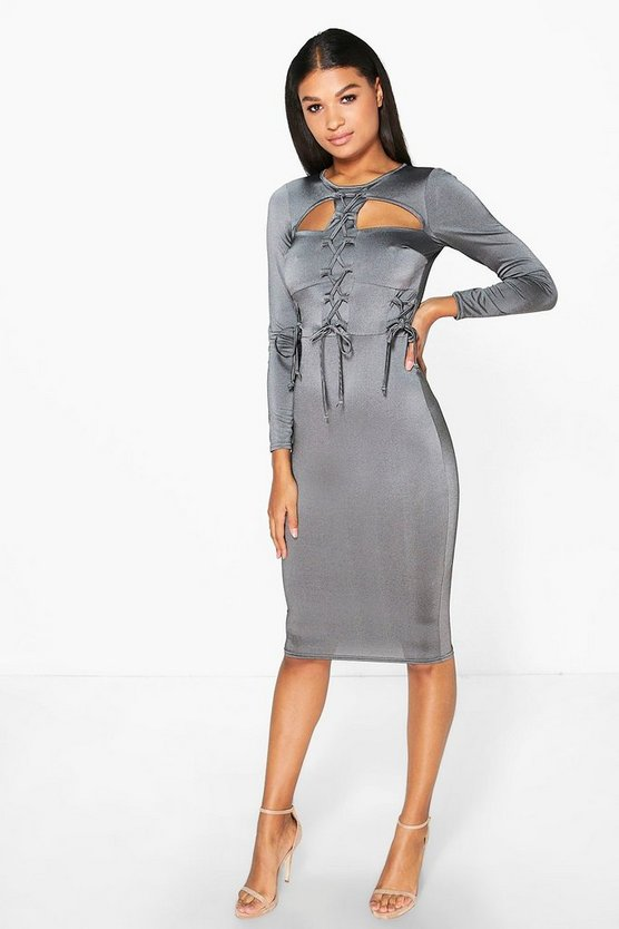 Harly Tie with Cut Out Bodycon Midi Dress