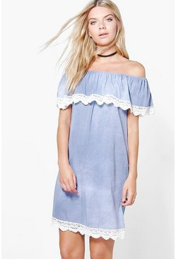 Louise Bardot Denim Dress
